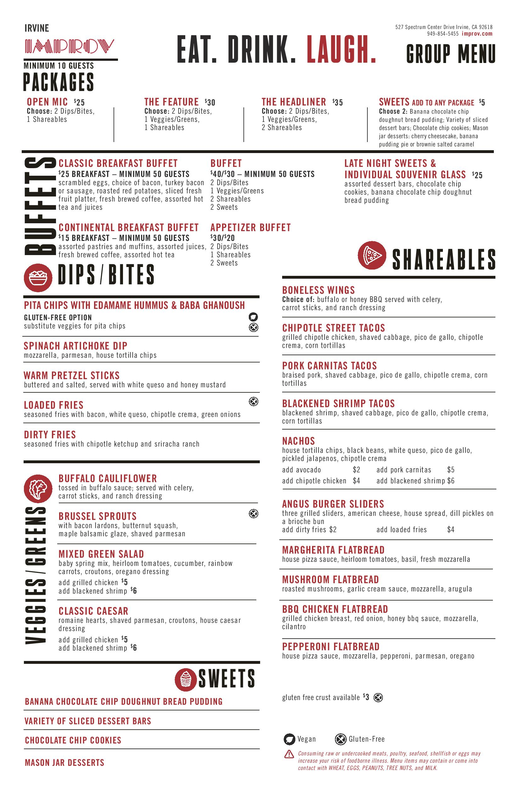 Irvine Improv Group Menu