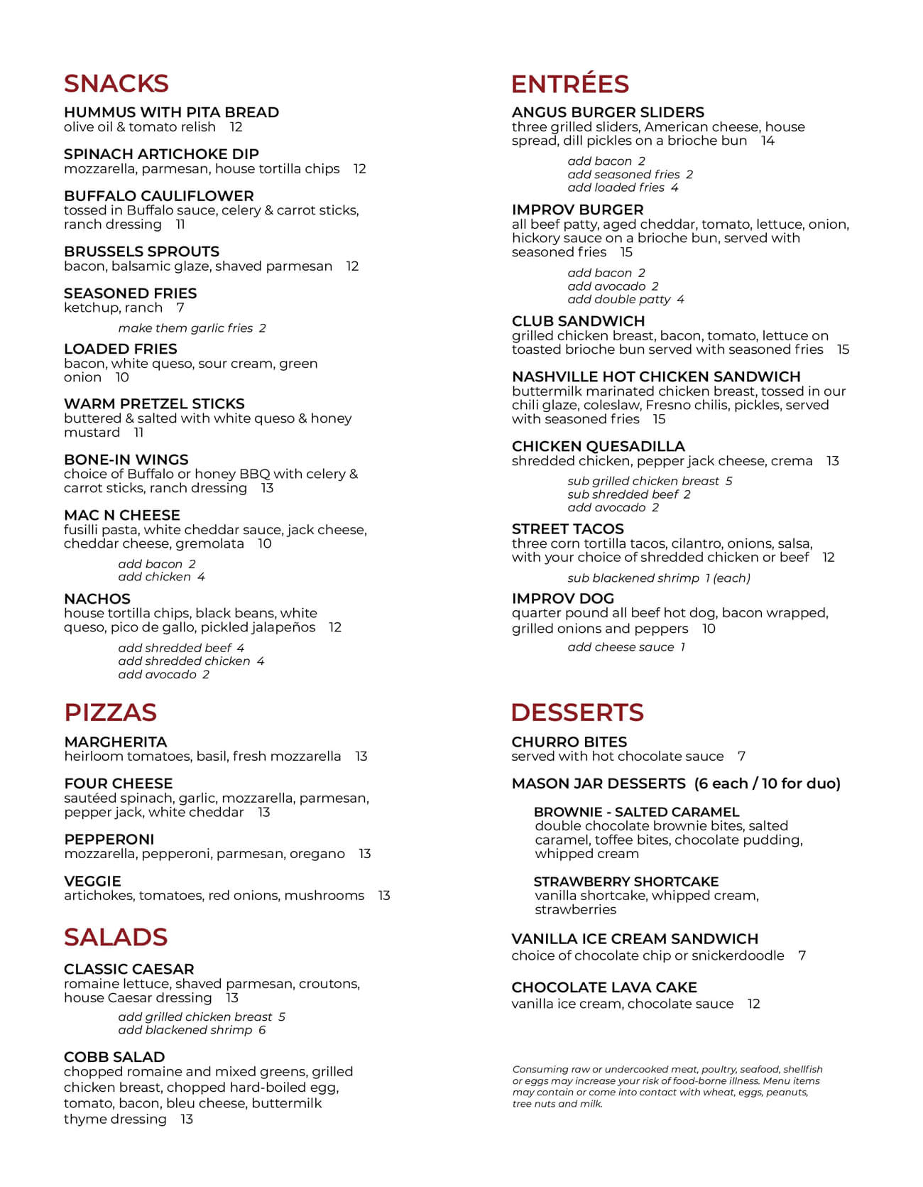 Ontario Improv Food Menu