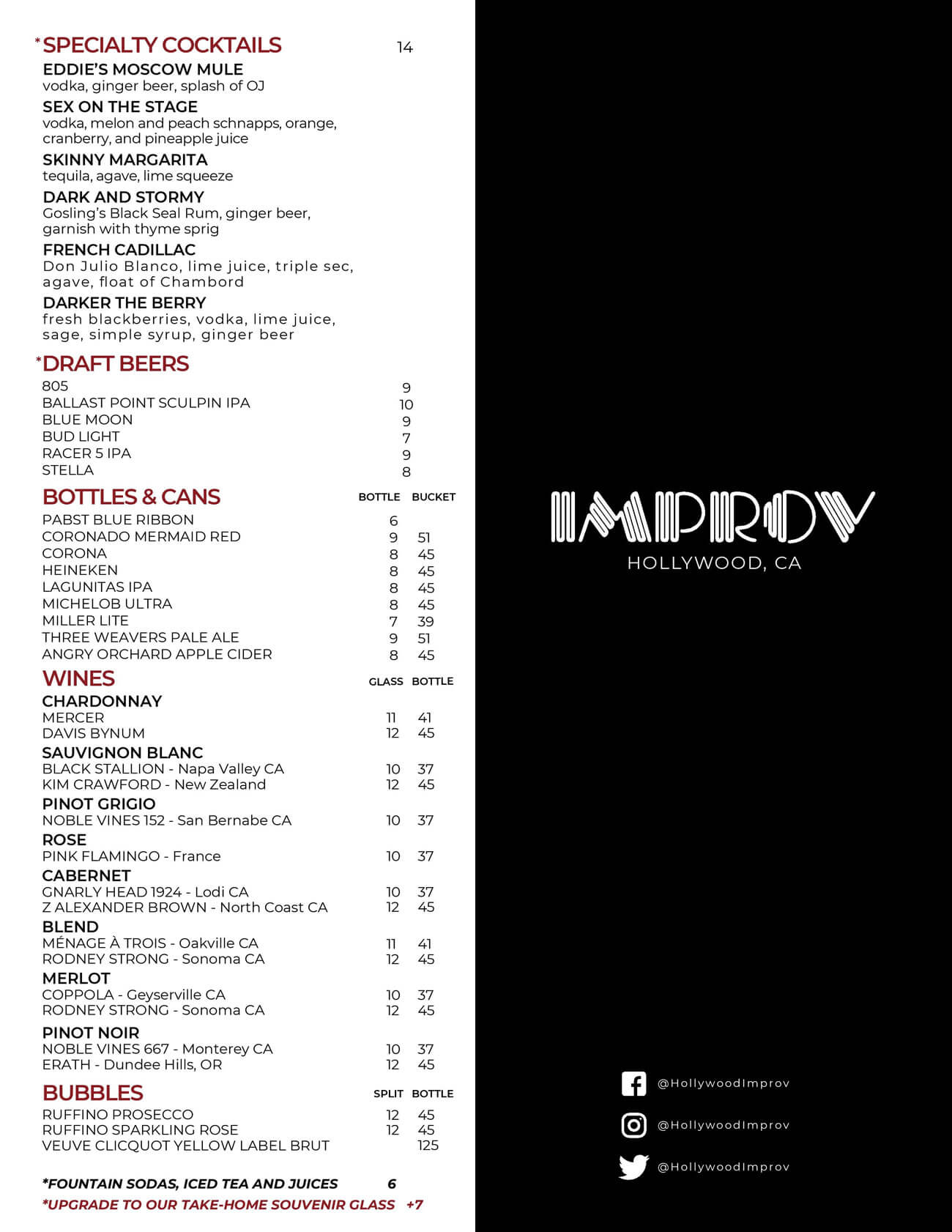 Hollywood Improv Drink Menu