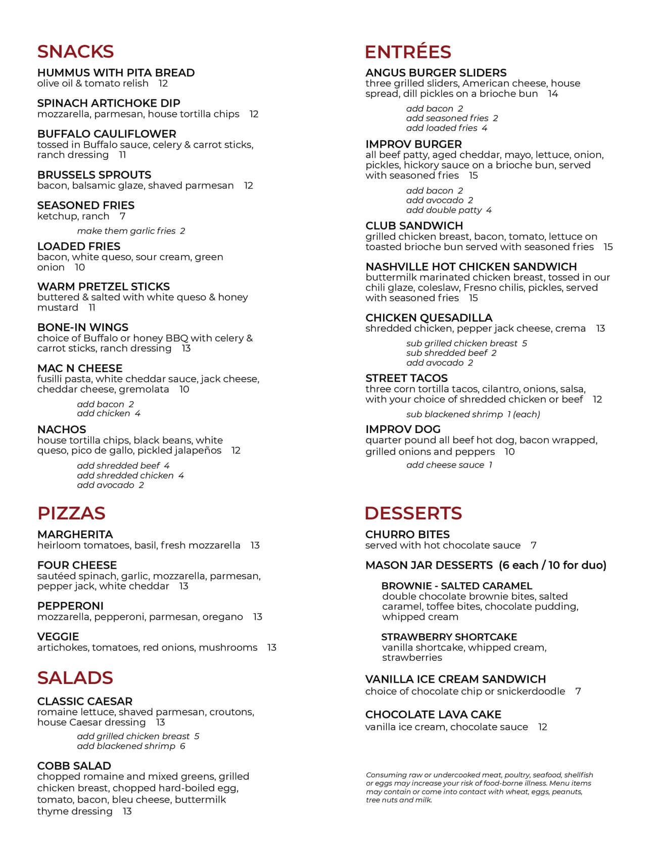 New York Levity Live Food Menu