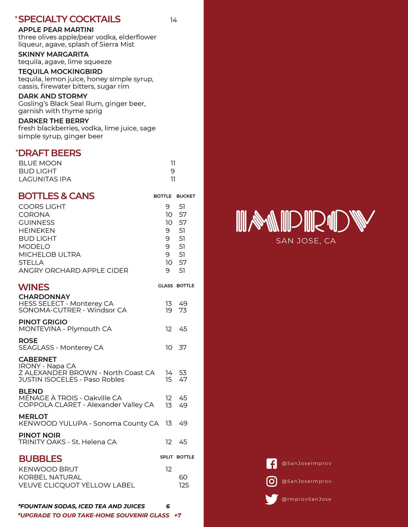 San Jose Improv Drink Menu